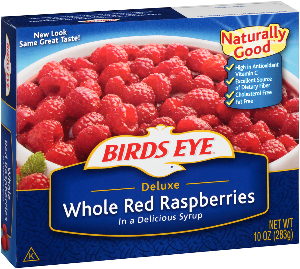 Birds Eye Deluxe Whole Red Raspberries in a Syrup