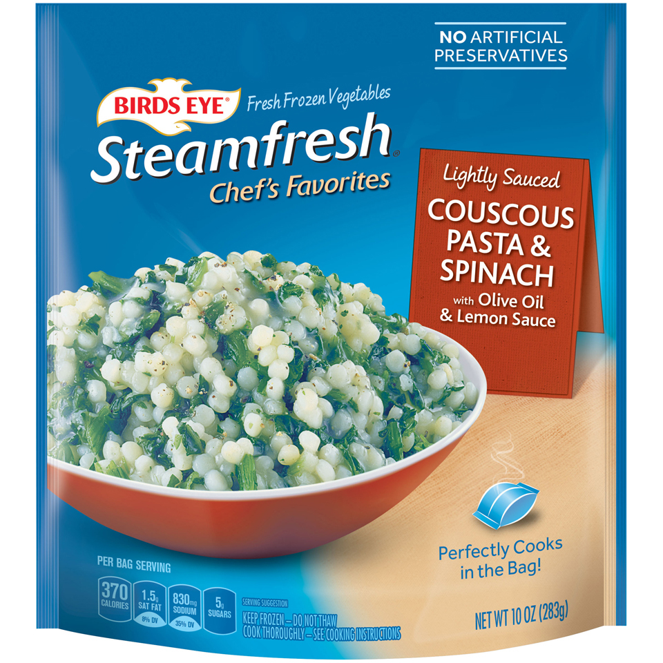 Birds Eye Steamfresh Chef's Favorites Lightly Sauced Couscous, Pasta & Spinach, with Olive Oil & Lemon Sauce